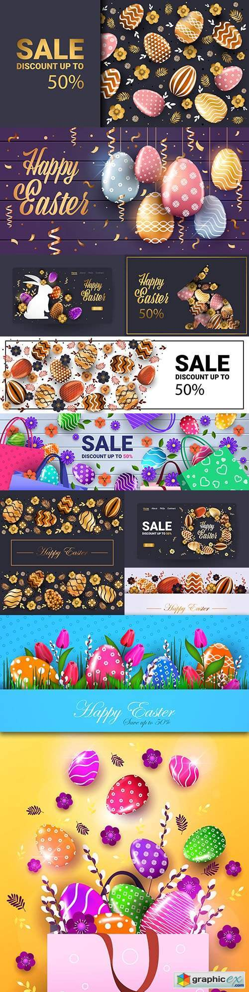Happy Easter sale banner with decorative eggs and flowers