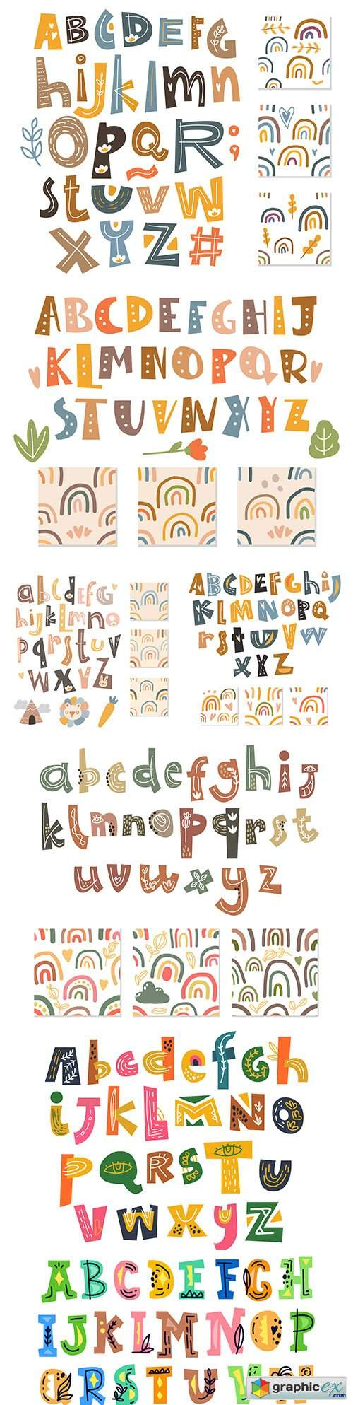 Scandinavian alphabet and seamless background set of elements