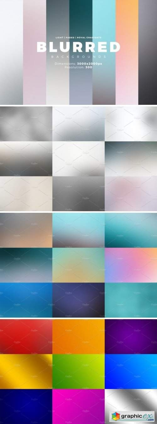 30 Blurred Backgrounds + Gradients
