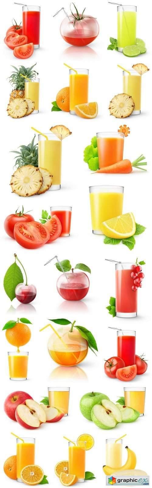 Fresh juice on a white background 2 - 21xUHQ JPEG Photo Stock