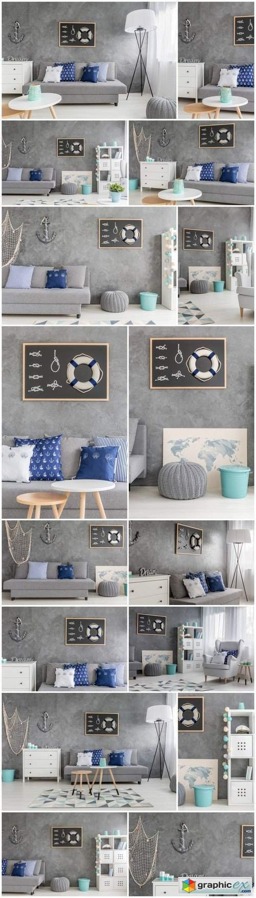 Living room with nautical decorations - 16xUHQ JPEG