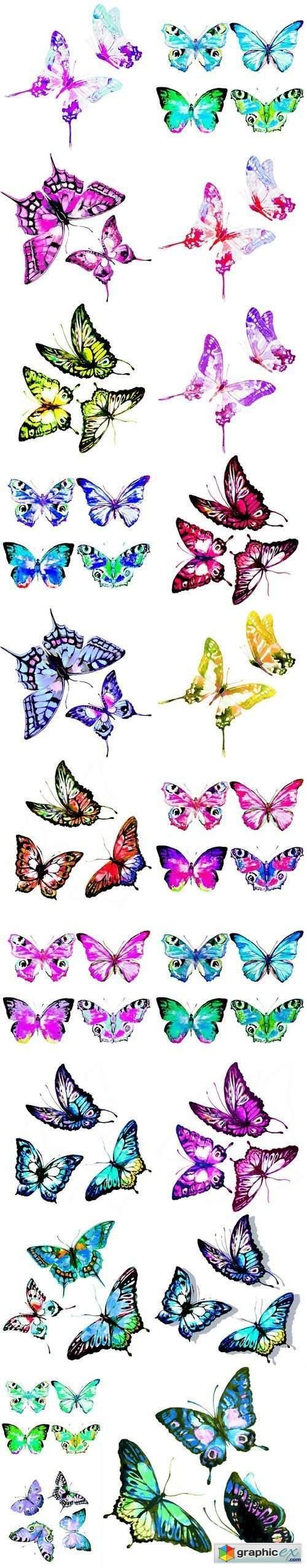 Beautiful watercolor butterflies - 21xUHQ JPEG