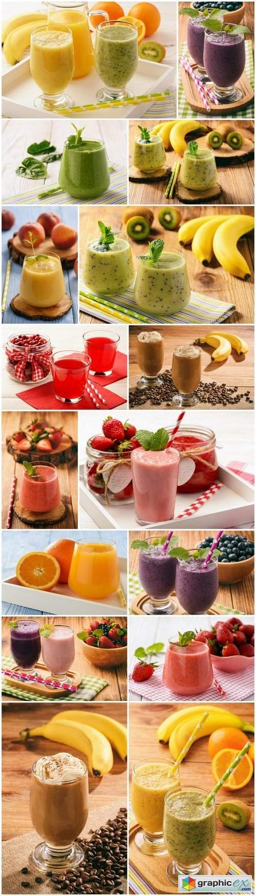 Tasty Smoothie and Juice from Berries and Fruit - 16xHQ JPEG