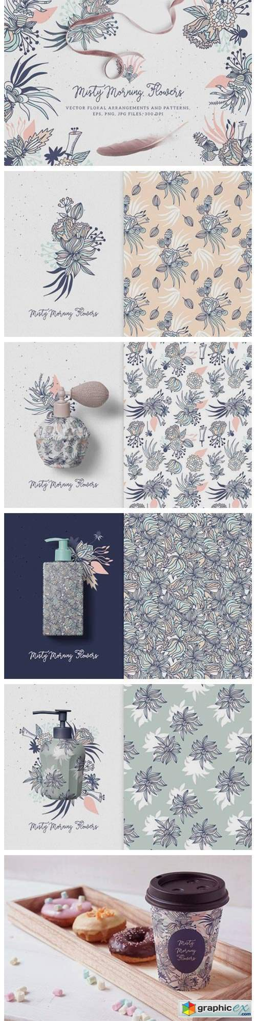 Misty Morning Flowers - Floral Clipart