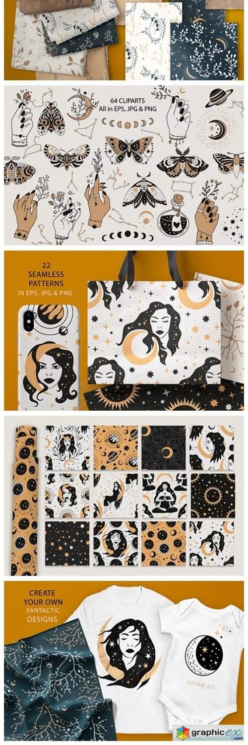 Celestial Clipart & Pattern Magic Pack