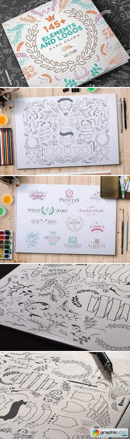 Hand Drawn Elements and Logos