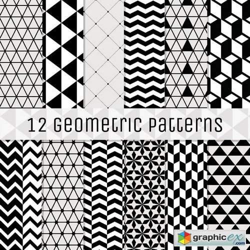 12 Geometric Seamless Backgrounds