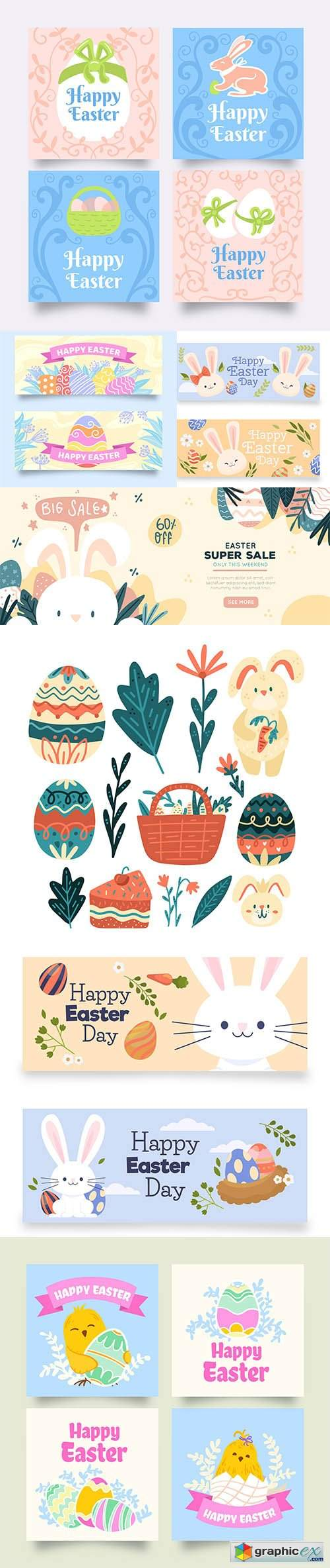 Hand-drawn easter element collection