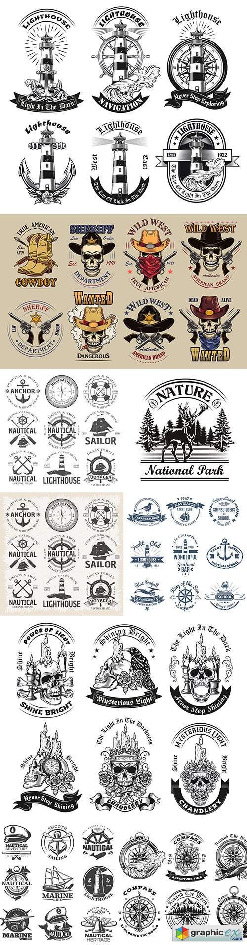 Marine world and Wild West set of labels and logos