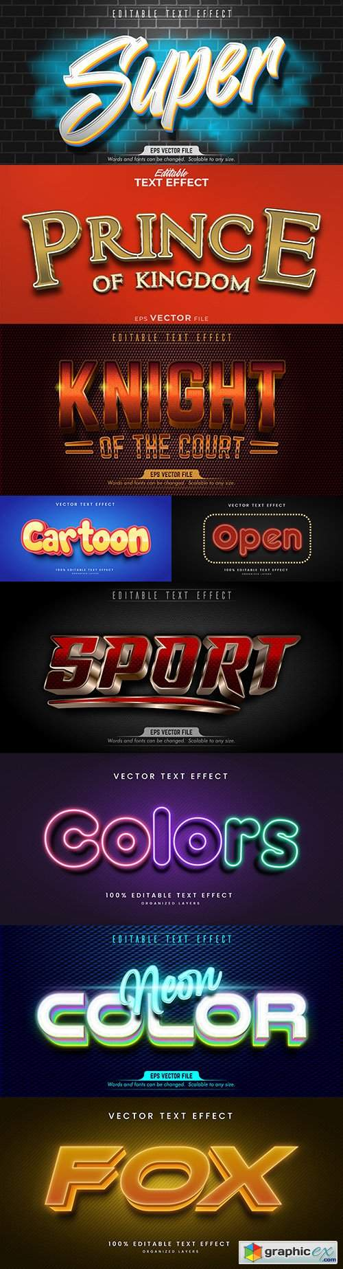 Editable font and 3d effect text design collection illustration 45