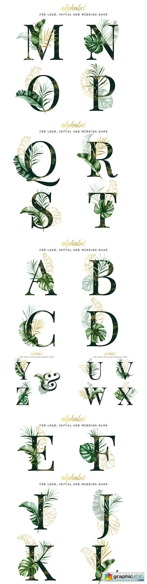 Decorative alphabet with tropical leaves for inviting design
