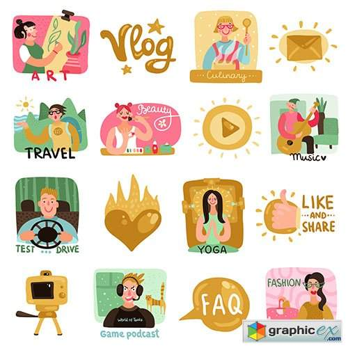 Video bloggers icons set with symbols flat