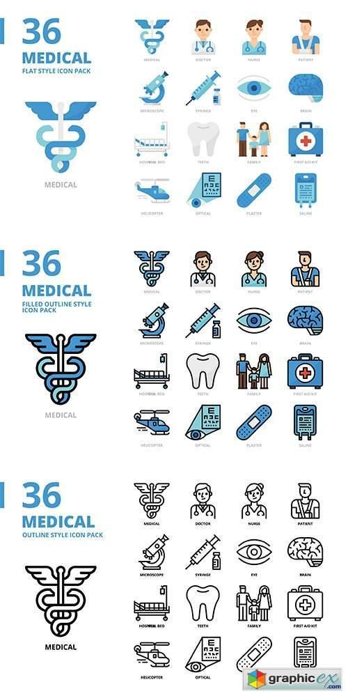 Medical Style Icon Set