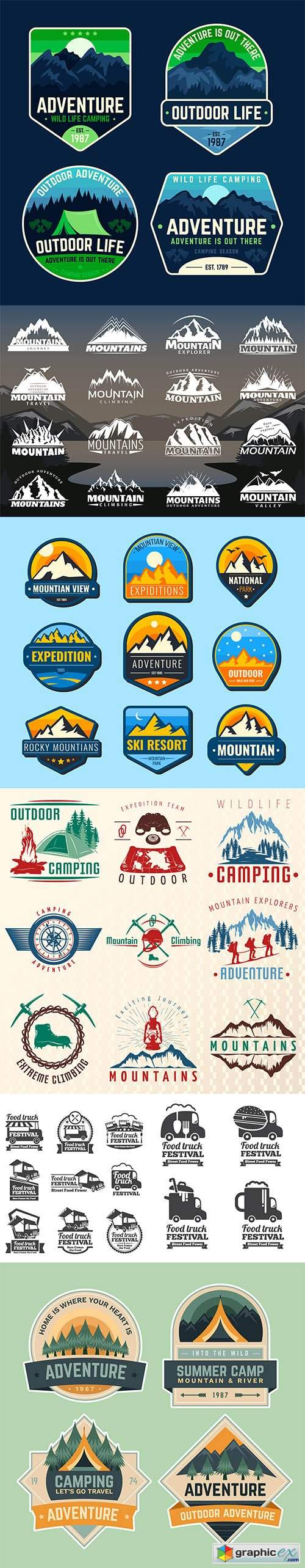 Mountains flat labels and food truck set