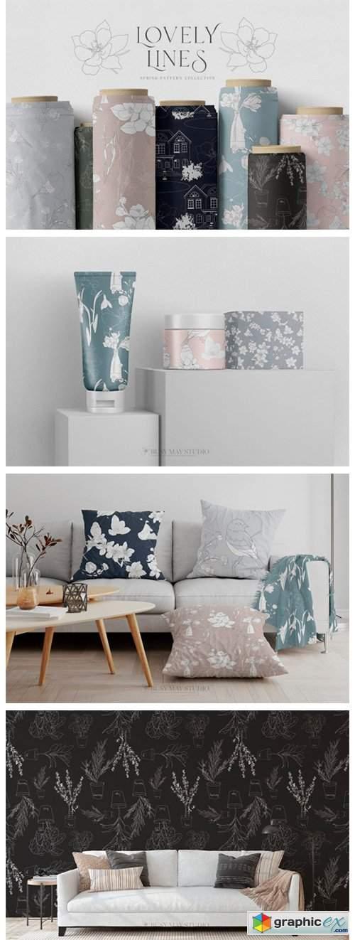 Line Art Spring Seamless Patterns