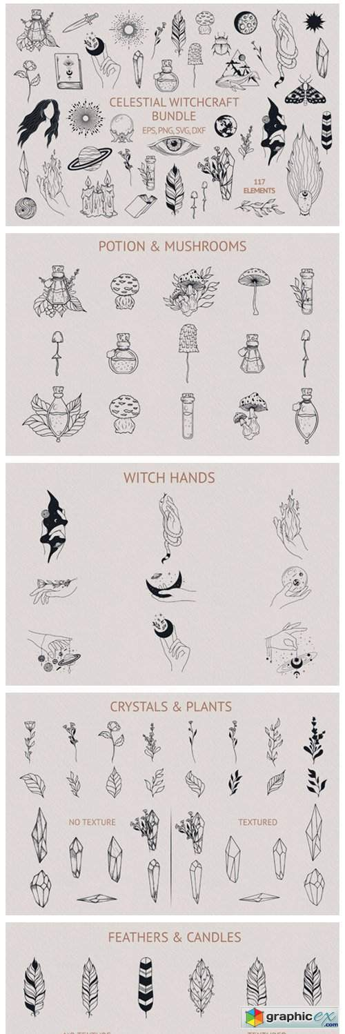 Hand Drawn Celestial Witchcraft Bundle