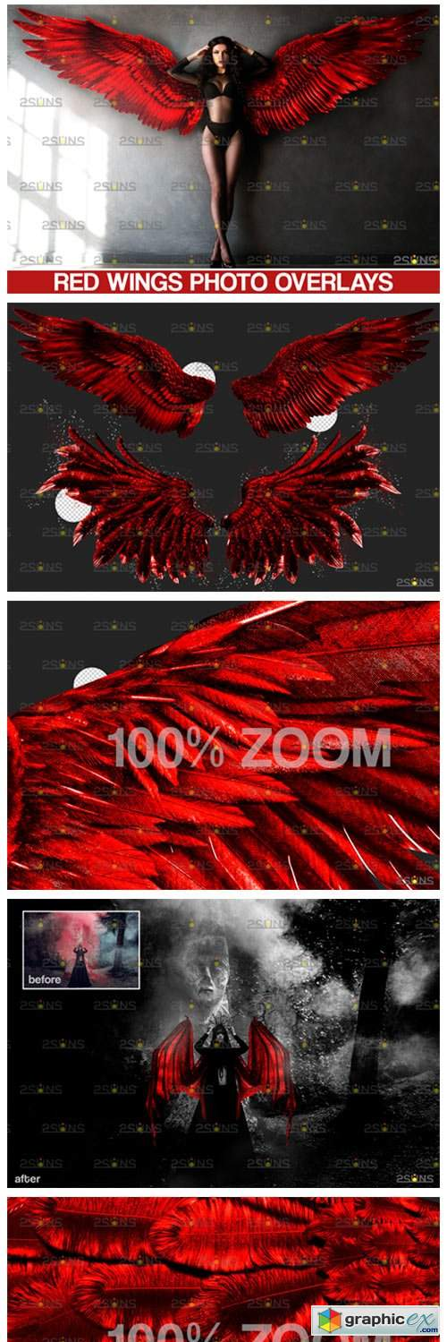 Red Angel Wings Overlay