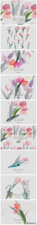 Delicate Watercolor Tulip Clipart Set