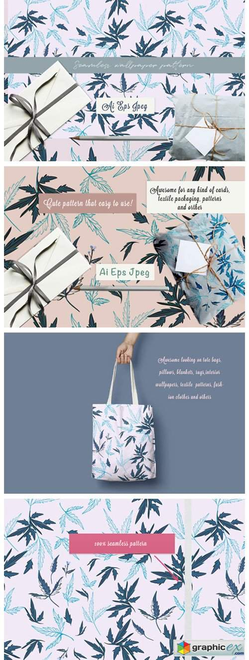 Floral Rustic Vector Pattern with Leaves