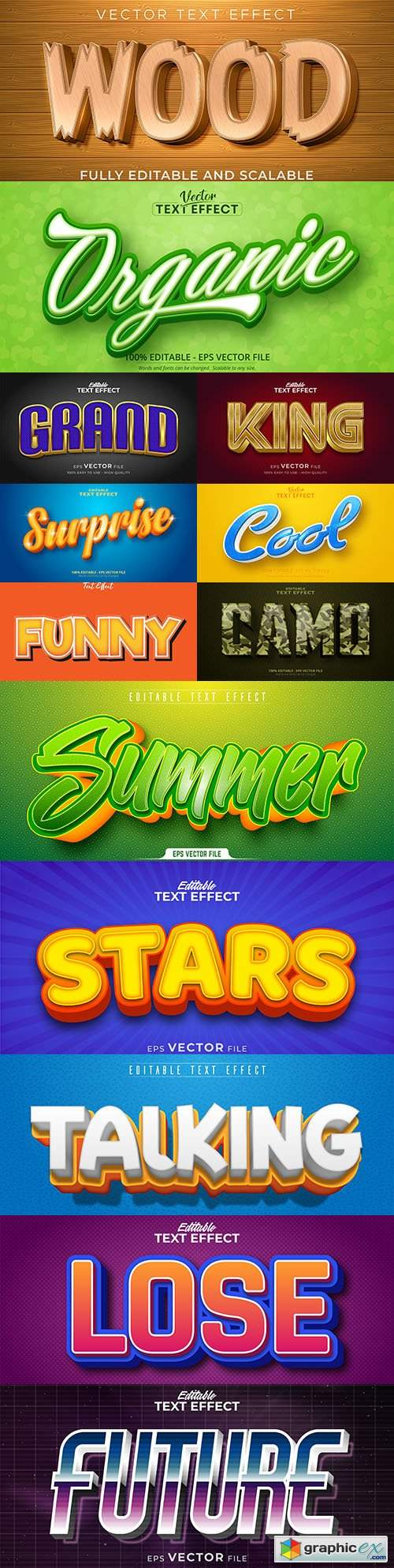 Editable font and 3d effect text design collection illustration 54