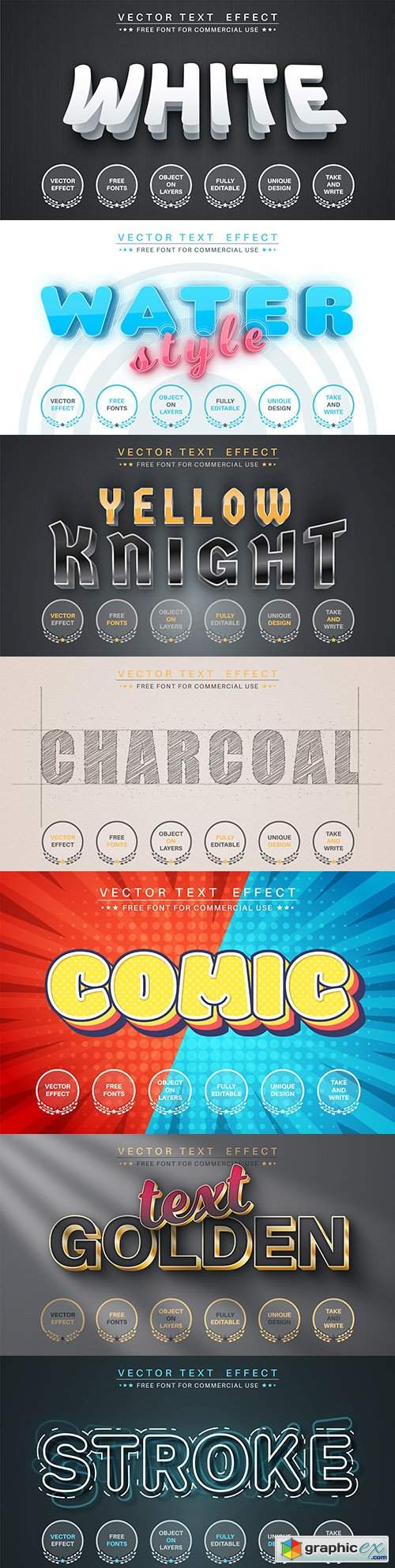 Editable font and 3d effect text design collection illustration 52