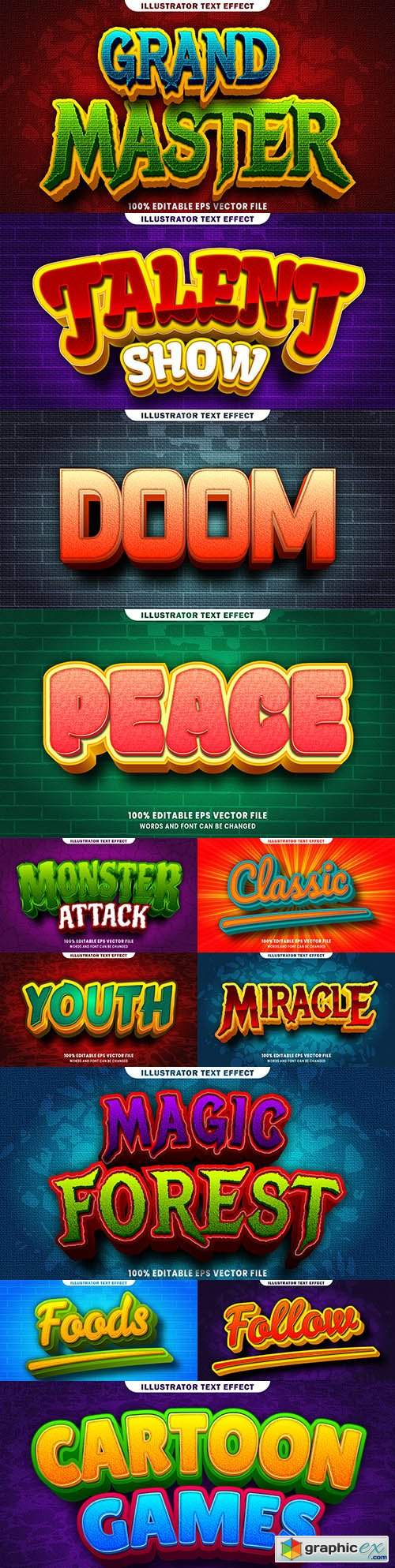 Editable font and 3d effect text design collection illustration 51