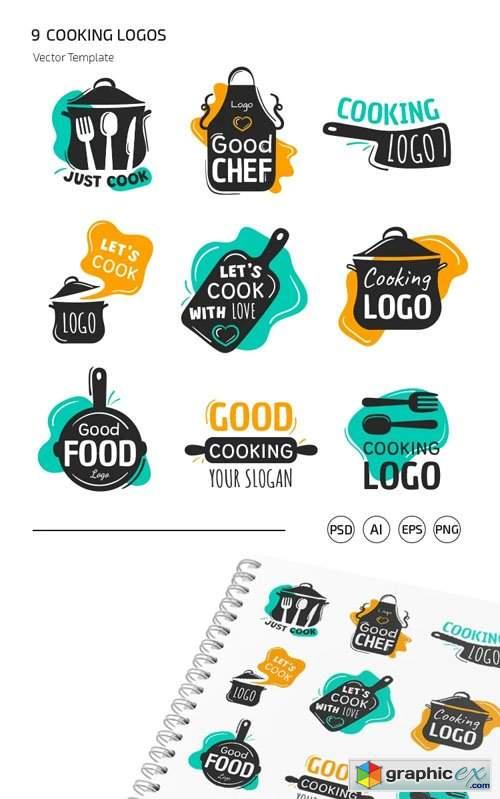 9 Cooking Logos Vector Templates