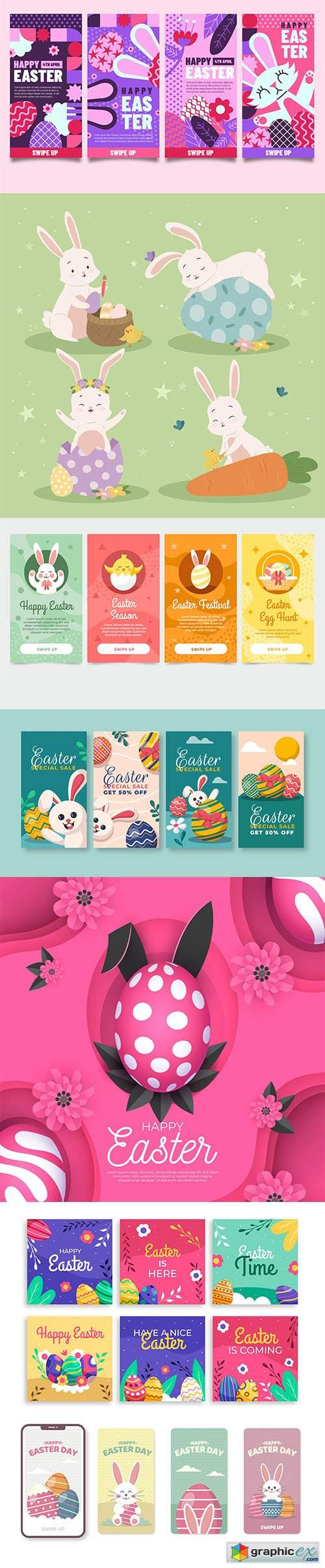 Hand-drawn cute easter illustrations and banner vol 2
