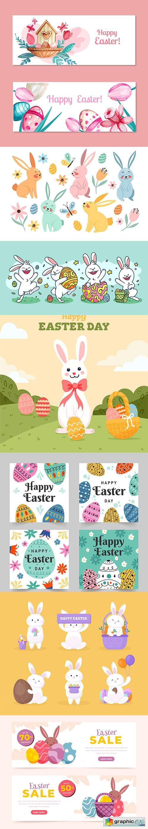 Hand-drawn cute easter illustrations and banner vol 3