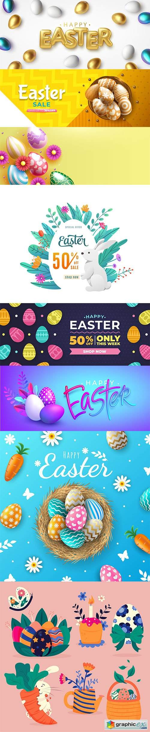 Hand-drawn cute easter illustrations and banner vol 4