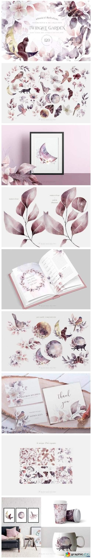 Whimsical Leaves Flowers Birds Moons