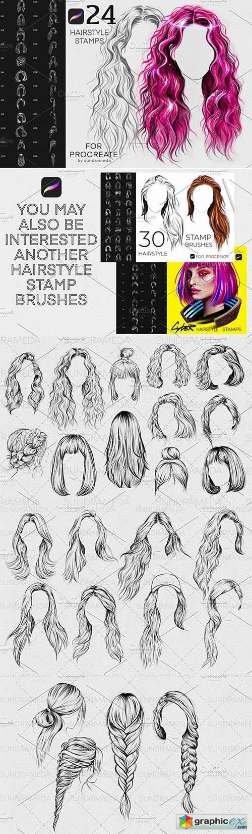 Hairstyle II Stamp Brushes Procreate