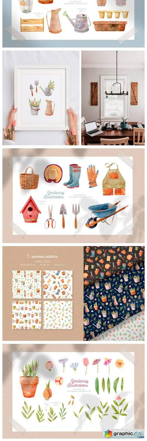 Gardening Tools Watercolor Collection