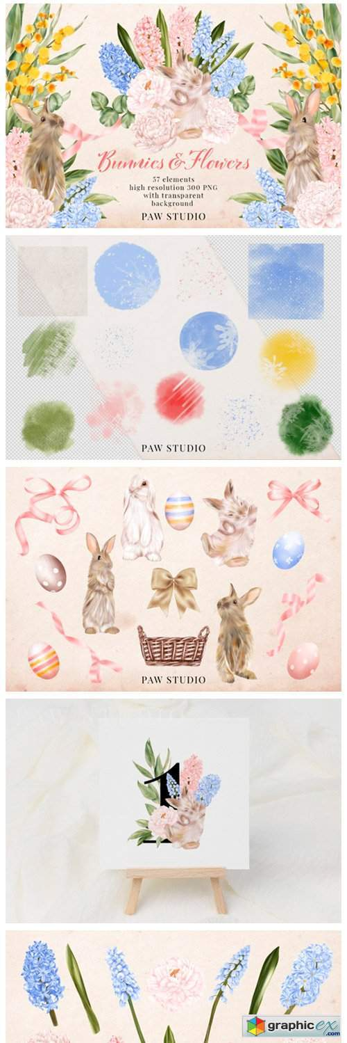 Easter Bunny Flowers Clipart Hyacinth