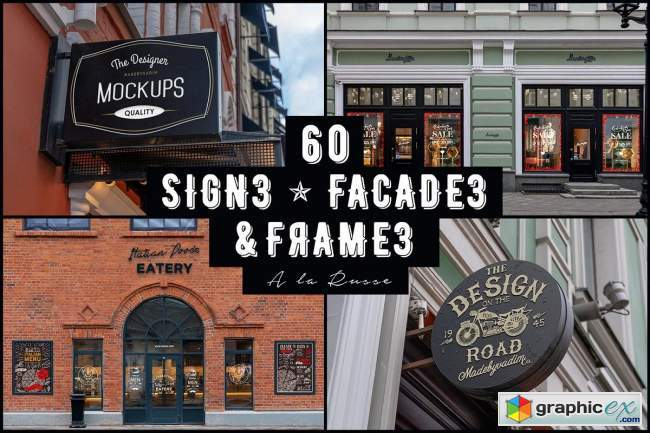60 Signs, Facades and Frames mockups
