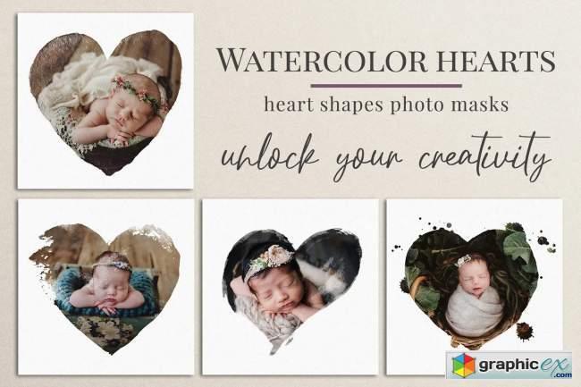 Watercolor hearts photo masks