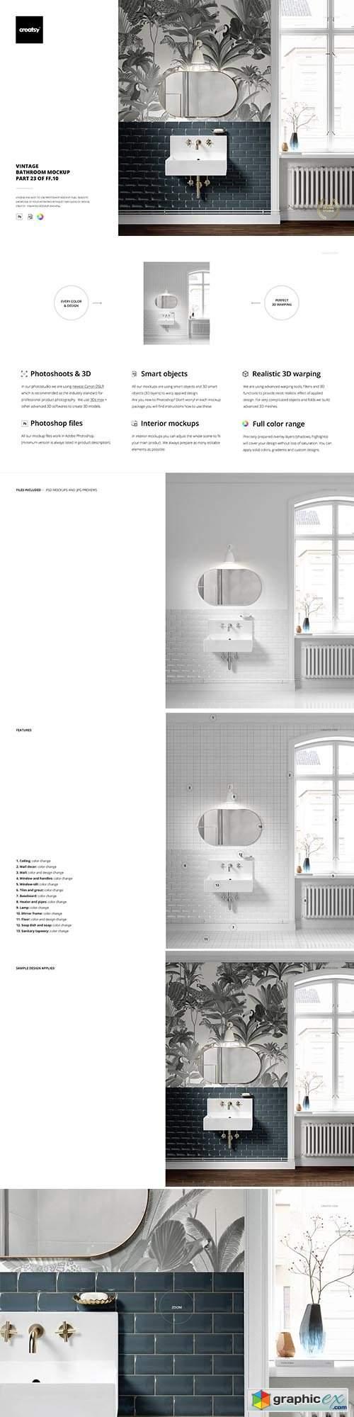 Vintage Bathroom Mockup (23FFv.10)