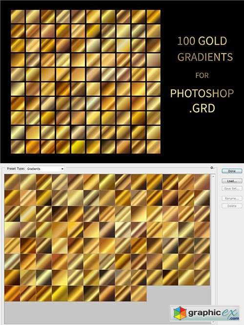 Gold Gradients for Photoshop .GRD