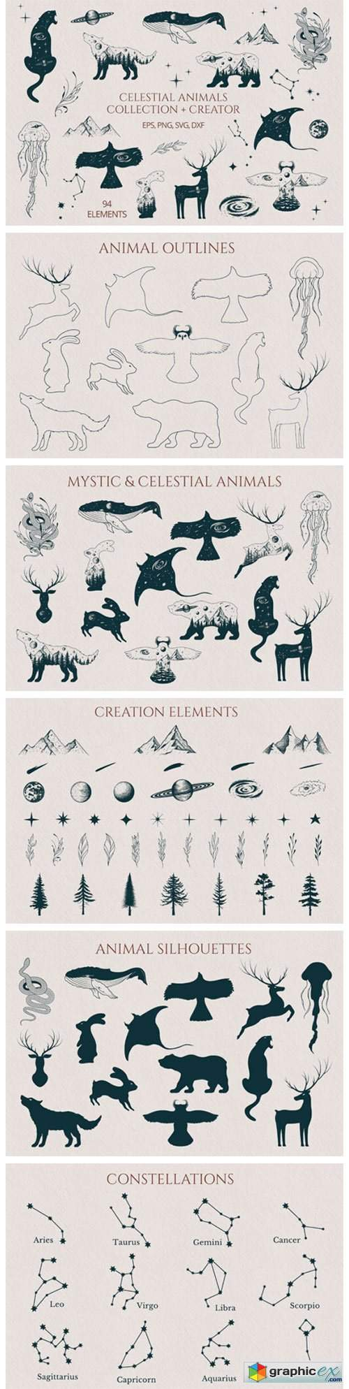 Hand Drawn Celestial Animals Collection