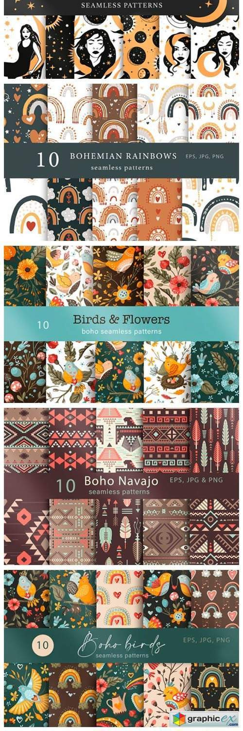 Seamless Boho Pattern Bundle