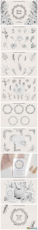 Floral LineArt Flower SVG Frame Monogram