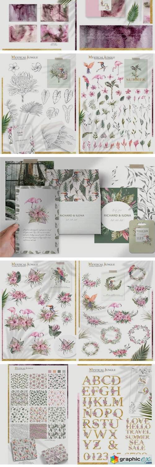 Watercolor Tropical Collection 200+items
