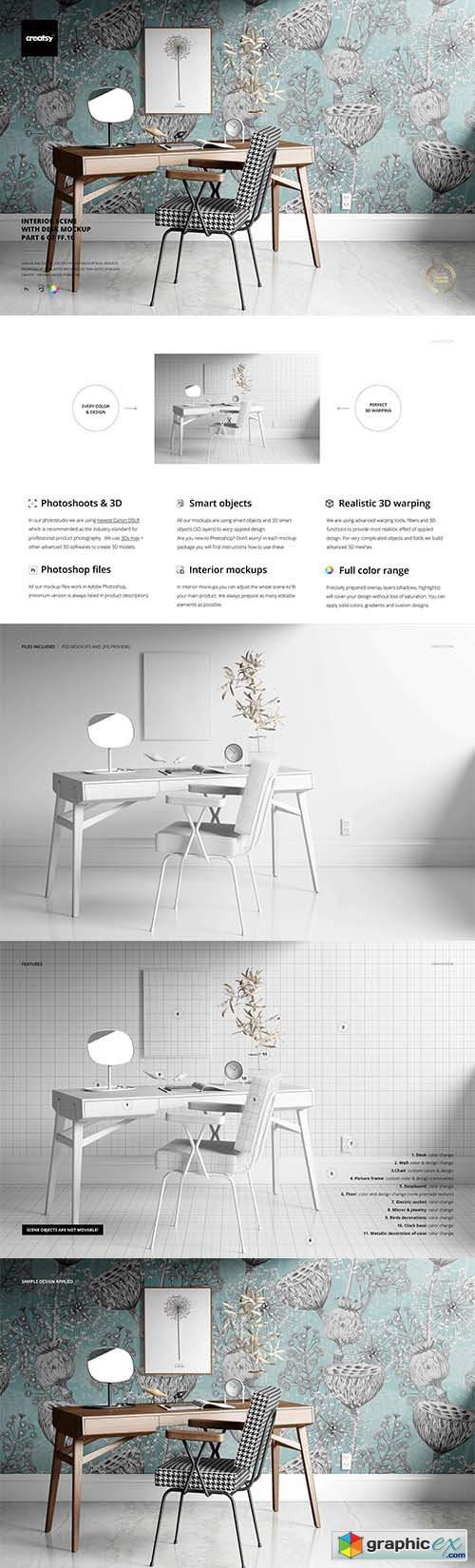 Interior Scene with Desk Mockup 3732461