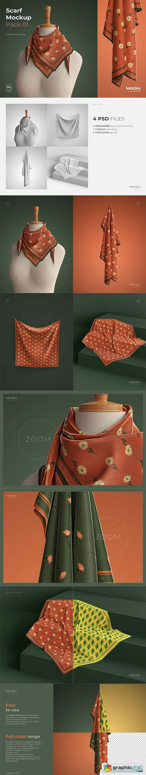 Silk Scarf Mockup - Big - Pack 01