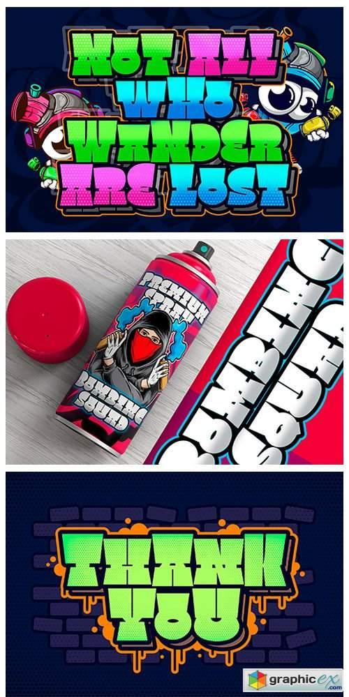 FontBundles - Square Spray Graffiti Font