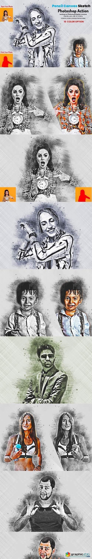 Pencil Canvas Sketch PS Action