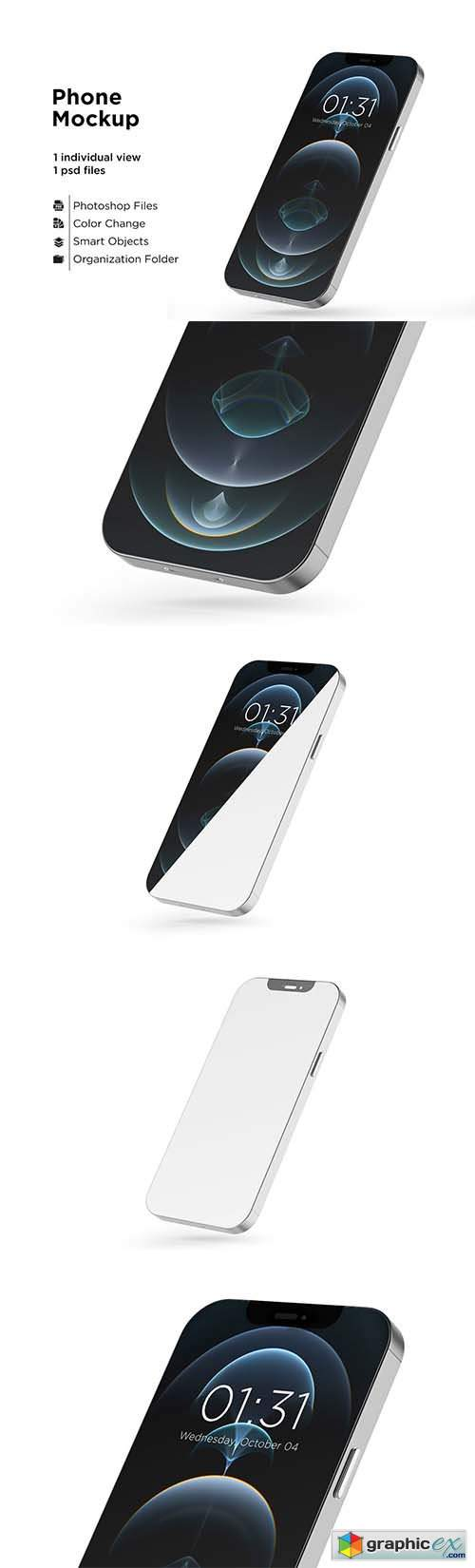 Apple Iphone 12 Pro Silver Mockup 6063298