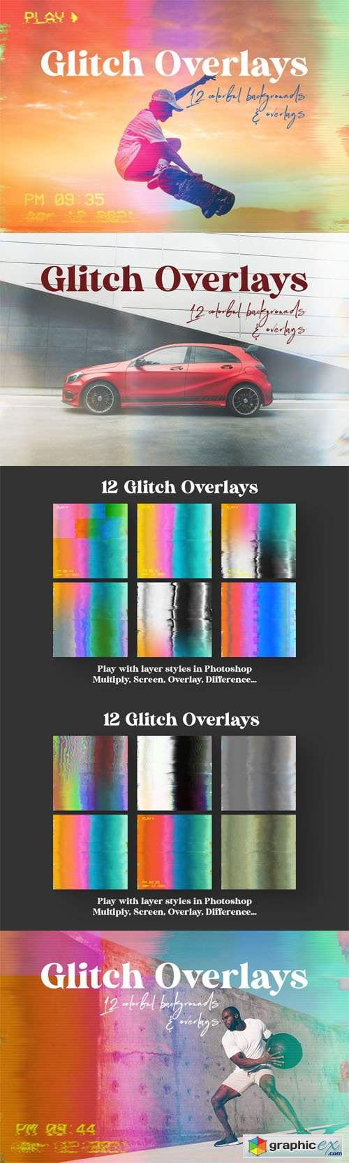 Glitch Overlays - 12 Colorful Backgrounds & Overlays