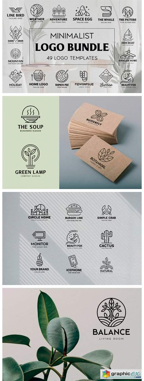 Monoline Logo Template Bundle