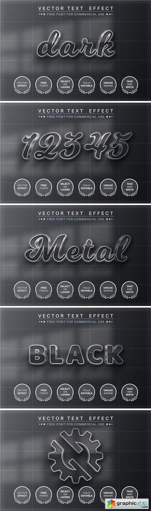 Dark metal - editable text effect, font style